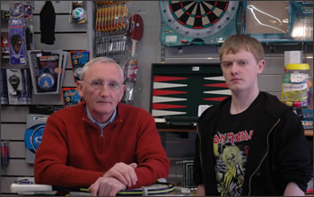Tom and his son Michael in the shop